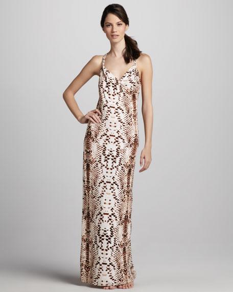 Snake-Print Jersey Dress
