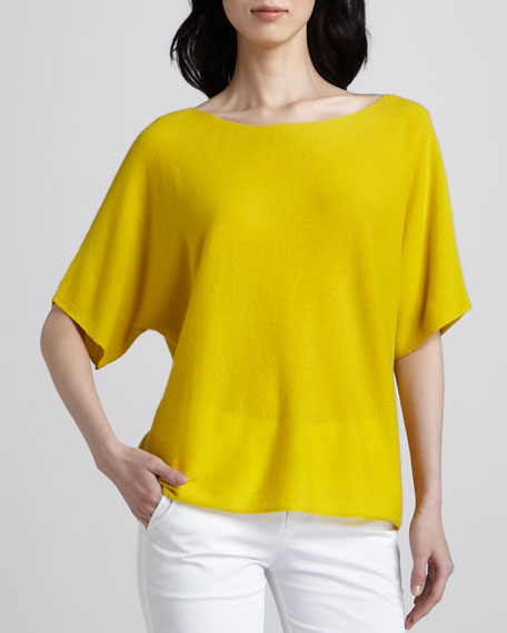 Short-Sleeve Cashmere Sweater