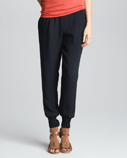 Vince Silk Sweatpants, Black