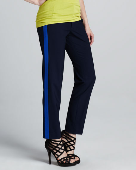 Contrast-Stripe Pants, Midnight