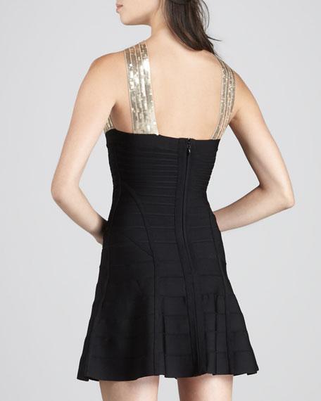 Sequin-Top A-Line Bandage Dress