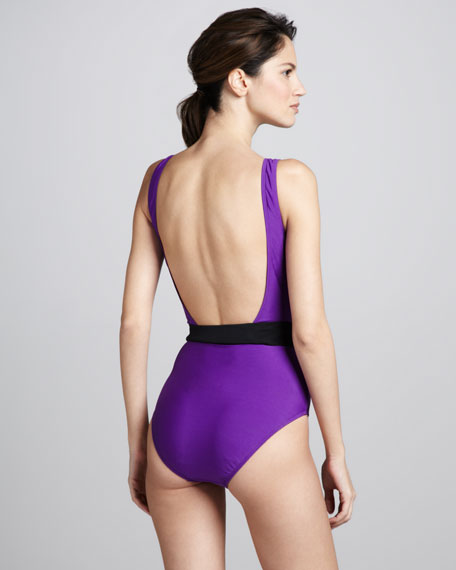 Plunging Two-Tone One-Piece Swimsuit