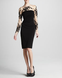 David Meister Illusion-Lace Cocktail Dress