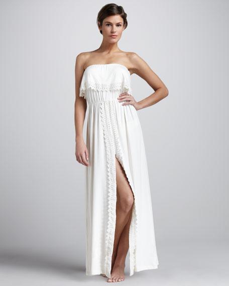 Nikola Eyelet-Trim Strapless Coverup Maxi Dress