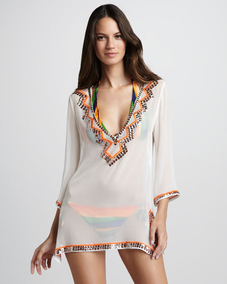 Paillette-Trim Coverup Tunic