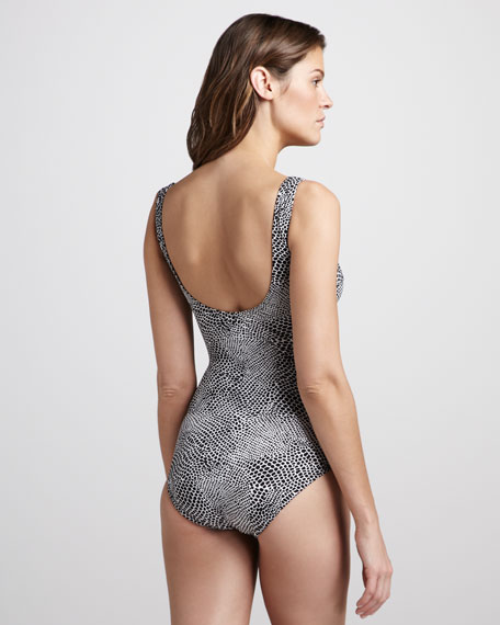 Lizard-Print Ruched One-Piece Swimsuit