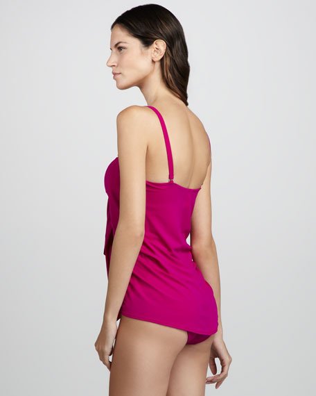 Draped One-Piece Bandeau Swimsuit