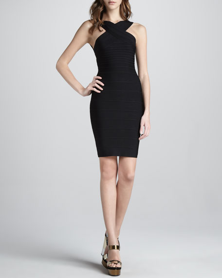 Cut-In Bandage Dress, Black
