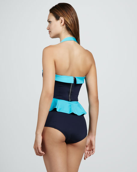 Colorblock Ruffle Maillot