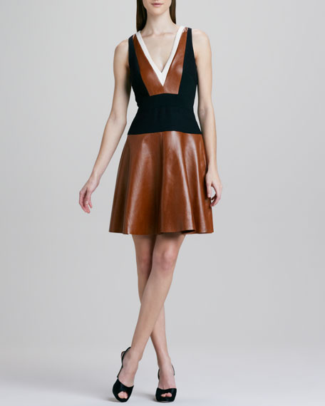 V-Neck Colorblock Leather Dress