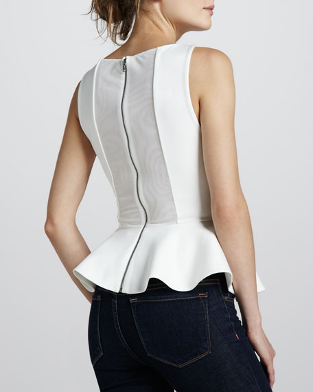 Sleeveless Ponte Peplum Top, Cream
