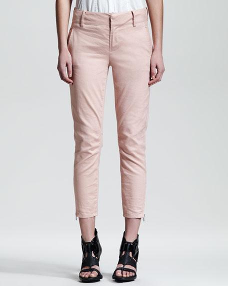 Slub-Twill Cropped Pants