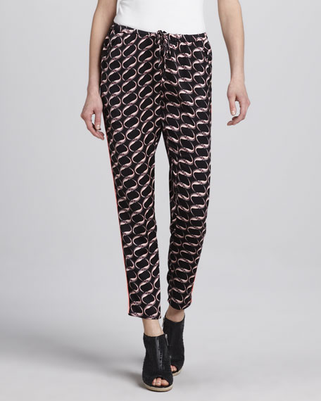 Printed Silky Pants, Black/Multicolor