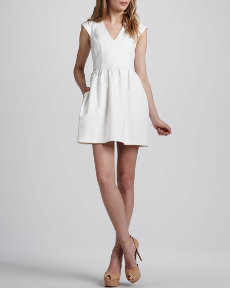 Stretch-Twill V-Neck Dress