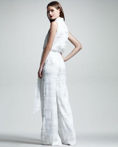 Croc-Print Cloque Trousers