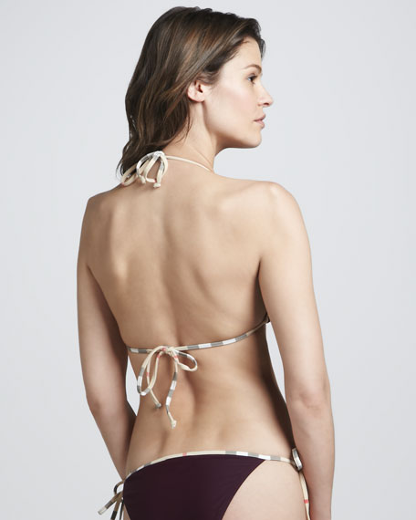 Check-Trim String Bikini, Boysenberry