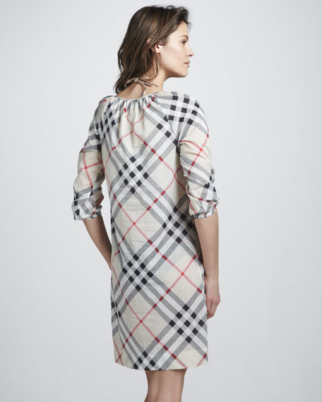 Exploded-Check Coverup Dress