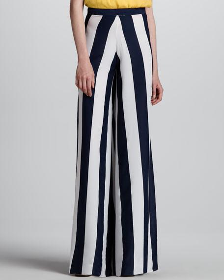 Super-Flare Wide-Leg Striped Pants