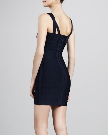 Double-Strap Bandage Dress, Blue