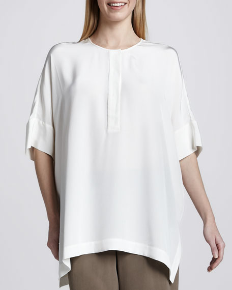 Silk Dolman-Sleeve Tunic