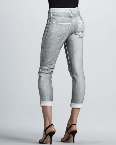 Foiled Cuffed Skinny Jeans