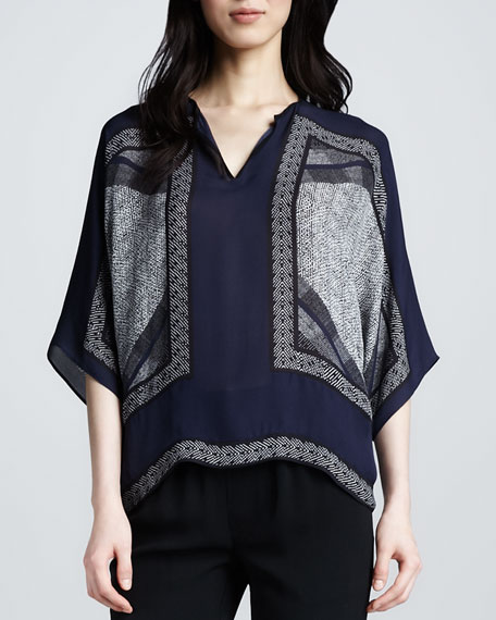 Scarf-Print Silk Top