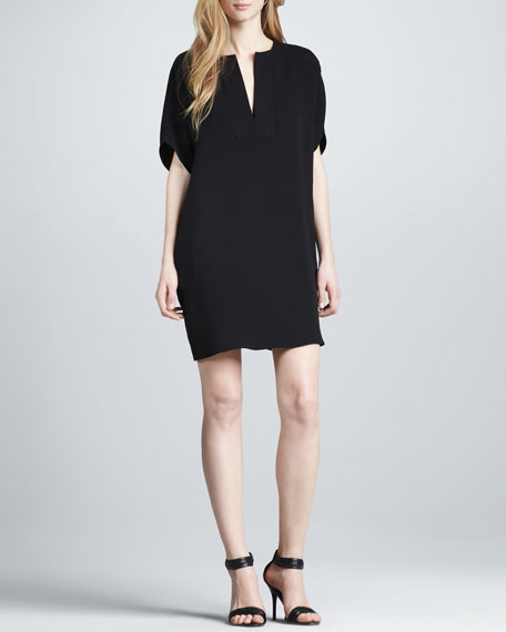 Split-Neck Silk Dress