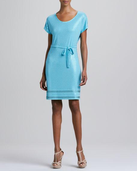 Grid-Stone Tie-Waist Dress, Blue