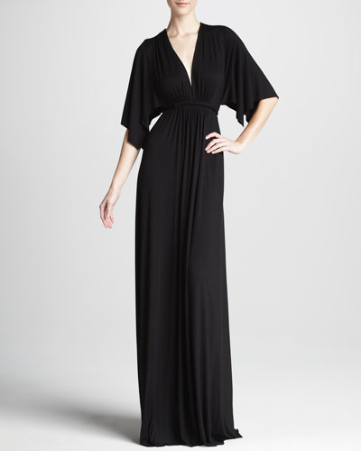Solid Black Caftan Maxi Dress, Women