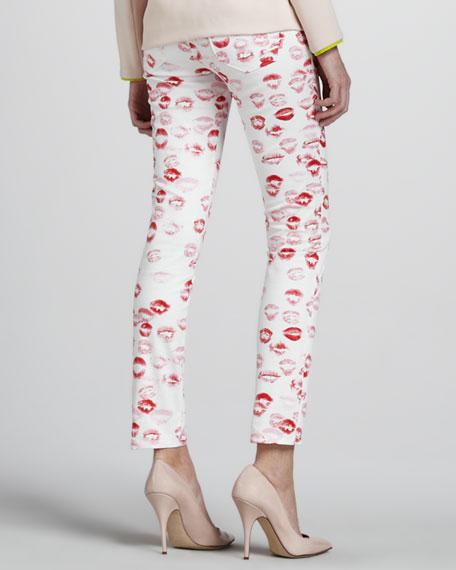Lipstick-Print Skinny Pants