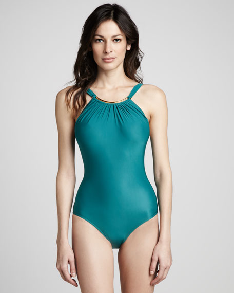 Argento Gathered Halter Maillot Swimsuit