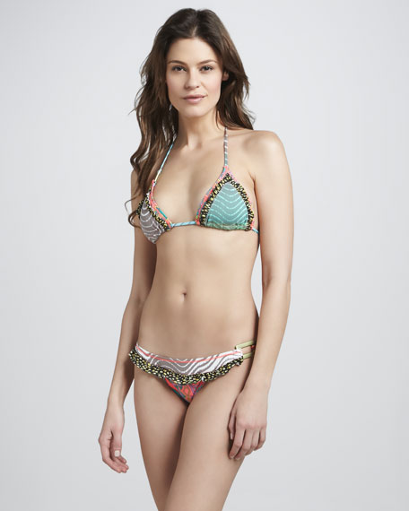 Mix-Print String Bikini Swimsuit