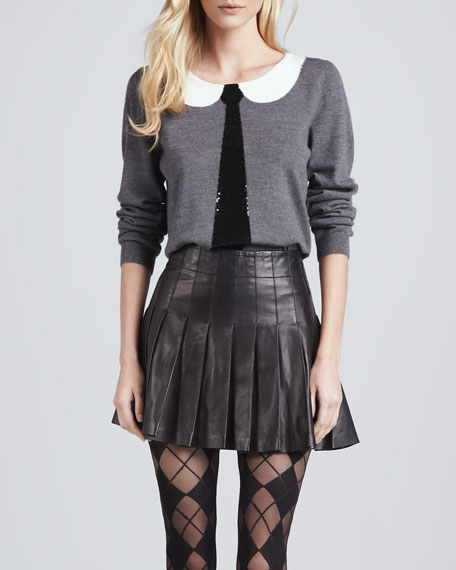 Alice   Olivia Box-Pleated Leather Skirt