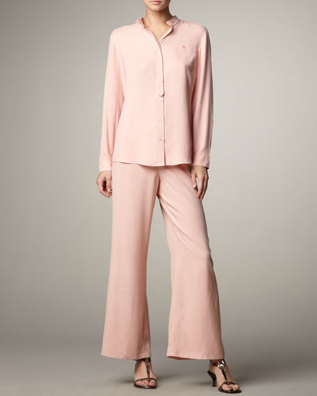 Wide-Leg Silk Pants, Women's