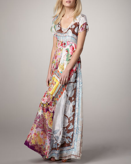 Printed Georgette Maxi Dress, Women's