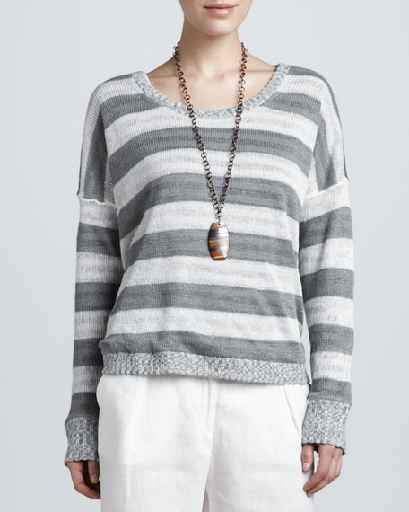 Striped Overlay Boxy Top