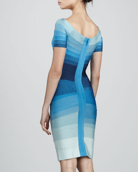 Short-Sleeve Ombre Bandage Dress
