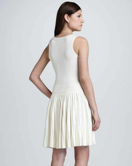 Josephine Pleated Knit Dress, White