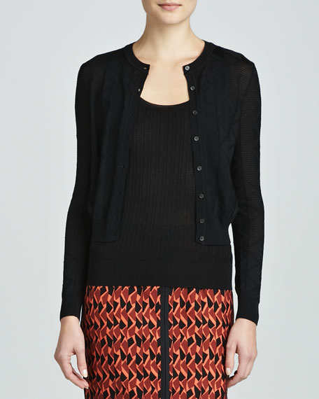 Zigzag Crewneck Cropped Cardigan, Black