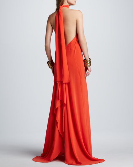 Jasara Low-Back Halter Maxi Dress