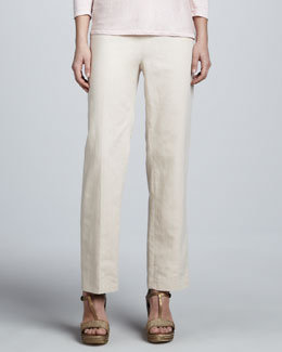 Neiman Marcus Linen Side-Zip Ankle Pants