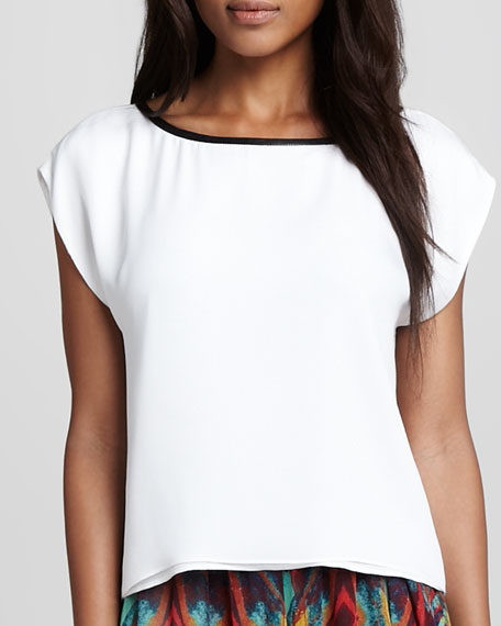 Marissa Leather-Trim Tee