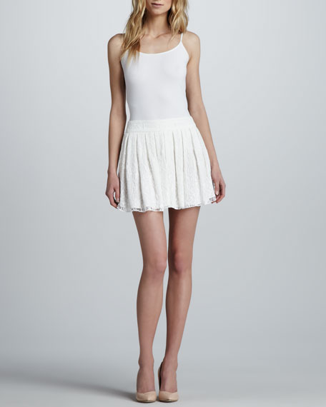 Box-Pleated Lace Skirt