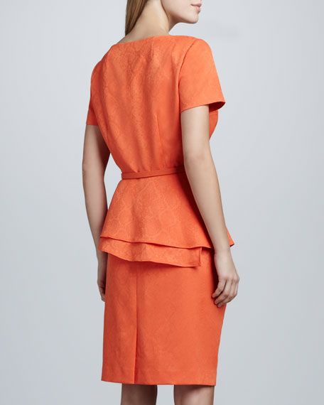 Jacquard Peplum Skirt Suit