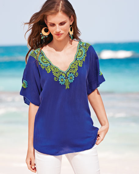 Turner V-Neck Embroidered Blouse