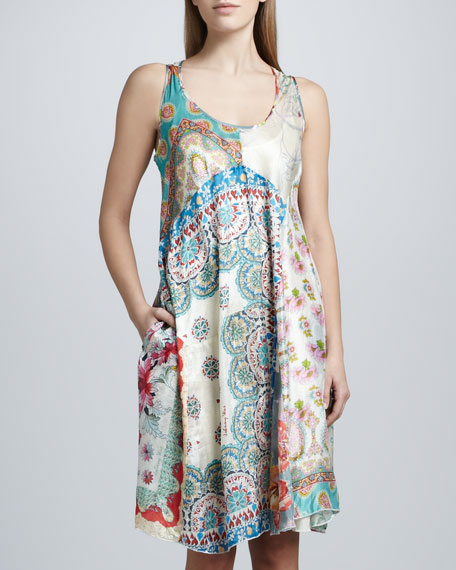 Paisley Patchwork Silk Dress