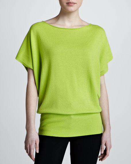 Boat-Neck Cashmere Top, Acid