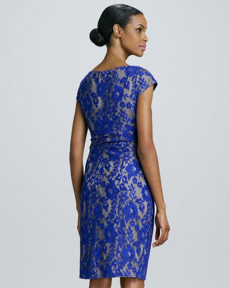 Cap-Sleeve Lace Dress