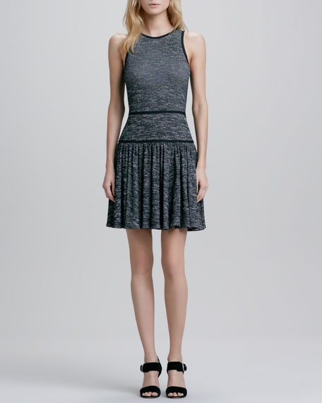 Jewel-Neck Pleated Skirt Dress