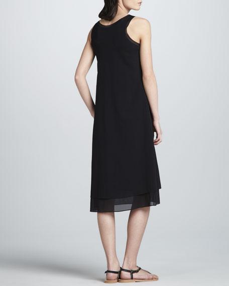 Layered Mix-Fabric Dress